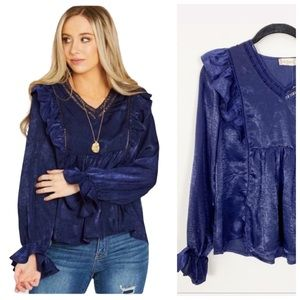 NWT ALTAR'D STATE Navy Ruffles Maeve Top Silky XS